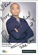 Bhasker Patel. Rishi Sharma - Emmerdale Hand Signed ITV Photo Card  JD1296
