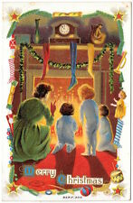 Christmas Postcard Mother & Children in front of a roaring fireplace~105572