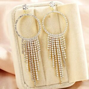 18K White&Gold Filled Simulated Diamond Studded Luxury Round Chandelier Earrings