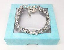 Personalised Silver Crystal Charm Bracelet Gift Box Wedding Birthday Christmas