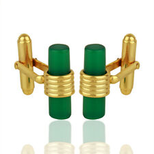 Men's Designer 925 Silver Yellow Gold Plated Green Onyx Gemstone Cufflinks