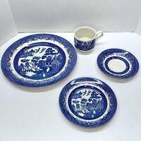 """Churchill England Blue Willow 4 Piece Set 10"""" Plate, 7"""" Plate, Tea Cup & Saucer"""