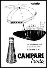PUBBLICITA' 1956 CAMPARI SODA BITTER APERITIVO DRINK BAR SPIAGGIA OMBRELLONE