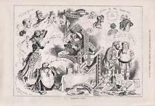 OLD ANTIQUE 1879 ENGRAVING PRINT CARTOON NOVEMBER NOTES b117