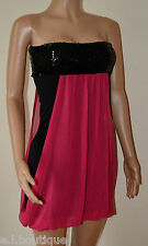VICKY MARTIN black hot pink sequin tube fitted strapless mini dress BNWT 8 10 12