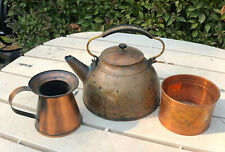 Vintage Revere Copper And Brass Teapot And 2 Other Copper Pieces