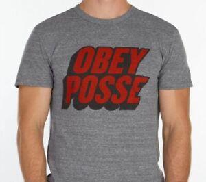 OBEY Posté Homme Coton Mélange Basique T-Shirt M Gris Chiné Neuf