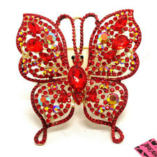 Betsey Johnson Red Bling Rhinestone Flower Butterfly Charm Brooch Pin Gifts