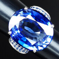 VIOLET BLUE TANZANITE RING OVAL 25.40 CT. SAPPHIRE 925 STERLING SILVER SZ 6.25