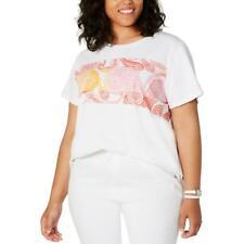 Tommy Hilfiger Womens White Graphic Crewneck Tee T-Shirt Top Plus 1X BHFO 5942
