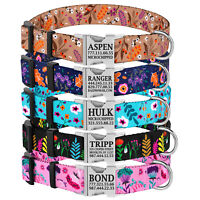 Personalised Floral Dog Collar Custom Pet ID Collar Flower Print Nylon Collars