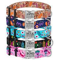 Floral Personalised Dog Collar Custom Pet ID Collar Flower Nylon Standard Collar