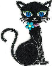 """3"""" Black Fancy Feline Cartoon Cat Embroidery Patch"""