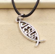 1pcs Tibetan Silver Fish Jesus Pendant Necklace Choker Charm Black Leather Cord