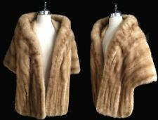 Brown MINK Fur Stole , Autumn Haze Bridal Shawl , Vintage Wedding Coat Jacket