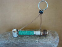 Navajo Indian Handmade & Beaded Antler Peace Pipe Key Chain ART489