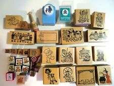 32 Lot-Stamps-Wood/Rubber-Mostly Bears and 2 Lot Bear Craft Punch-Disney Pooh..