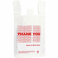 """Mixed 200ct Large 1/6 """"Thank You"""" T-Shirt Plastic Grocery Shopping Bags w/Handle"""