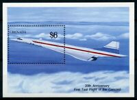 Grenada Aviation Stamps 1990 MNH Concorde First Test Flight Aircraft 1v S/S II