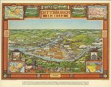 1939 PICTORIAL Map Pittsburgh in 1889 Pennsylvania PA historic POSTER 9613000