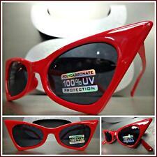 CLASSIC VINTAGE RETRO CAT EYE Style SUNGLASSES Small Red Fashion Frame Dark Lens