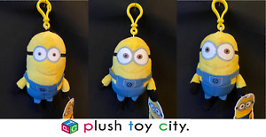 """UNIVERSAL STUDIOS DESPICABLE ME 2 MINIONS SOFT TOYS / KEY / BAG CLIPS 6"""" - NEW"""