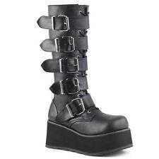 Demonia TRASHVILLE 518 Boots Unisex Goth Punk Wedge Black Knee High Platform