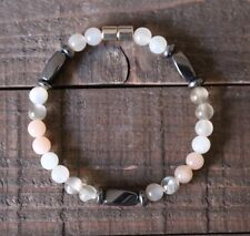 Moonstone-Gray Hematite Healing Chakra Zen Gemstone Bracelet W/Magnetic Clasp
