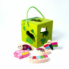 Shape Sorter Wood Baby Toy Butterfly Insects Colours and Shapes Cube