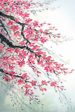 STUNNING ABSTRACT JAPANESE FLORAL CANVAS #772 WATER COLOUR FLOWERS WALL ART