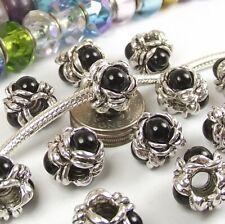 Black Flower Screw On Threaded Lock Stop Bead for Silver European Charm Bracelet