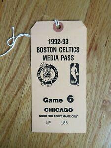1992-93 BOSTON CELTICS Game 6 CHICAGO BULLS Media Pass LARRY BIRD SCOTTIE PIPPEN