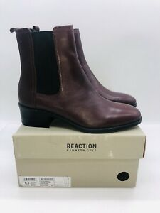 Kenneth Cole Women Salt Heeled Chelsea Boots Burgundy Leather US 8.5M / EUR 39.5