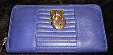 JUICY COUTURE  LEATHER Zippered Wallet Blue with a hint of Purple Leopard lining