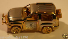 Widdop Novelty Miniature Clock in Gold Finish Metal Jeep-Quartz