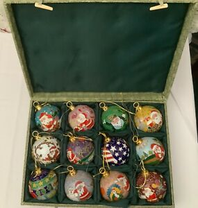 SET OF 12 Cloisonné Round Christmas Ornaments - 12 Different Month Santa