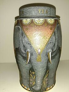 Williamson Tea Elephant Tea Tin Grey Vintage Gold Design Collection England