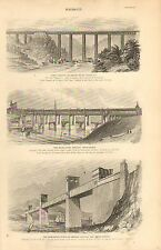 1874 PRINT ~ BRIDGES ~ CRUMLIN IRON VIADUCT HIGH LEVEL BRIDGE NEWCASTLE TUBULAR