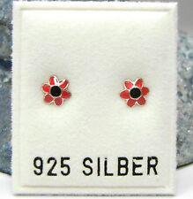 NEU 925 Silber OHRSTECKER BLÜTEN in rot OHRRINGE Blumen BLUME Earrings BLÜTE