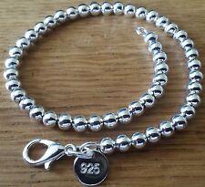 SB 45 Silver bracelet 20cm x 5mm ball chain links, 925 stamped Plum UK GIFT BOXD
