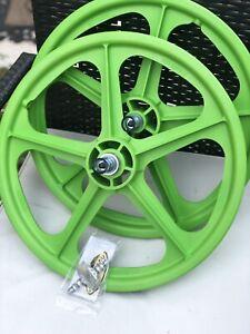 """BMX Skyway Tuff 2 Wheelset 20"""" Axle 3/8 - Lime Green"""