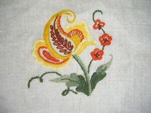 Handmade Vtg Embroidered Applique Panel Embellishment Floral Sampler Piece
