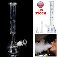 """11"""" Glass Bong Hookah Maple Leaf Pattern Water Pipe Bowl Shisha Smoking"""