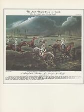 """1974 Vintage HORSE RACE """"THE FIRST STEEPLE CHASE ON RECORD"""" COLOR Art Lithograph"""