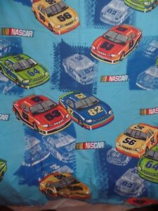 NASCAR Racing Race Cars Blue FULL Flat Bed Sheet Dan River Craft Material