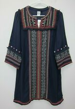 Anthropologie Akemi + Kin Embroidery Detail Peasant Dress Size 12 Blue  NWT