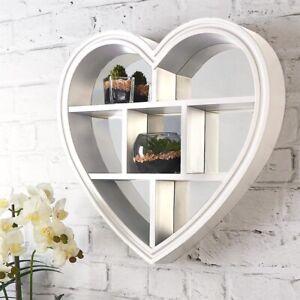 WHITE HEART MIRROR SHELF VANITY DEEP WALL MOUNTED SHELF bathroom bedroom 45*45cm