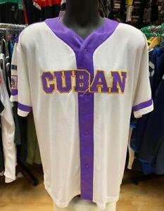 Vintage Cuban X-Giants Baseball Jersey White/Purple Size L Free P&P UK Only