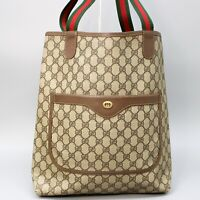 GUCCI GG Pattern PVC Canvas Sherry Webbing Vintage Tote Bag Purse 002 123 6487