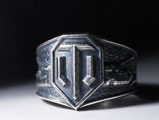 World Of Tanks Ring, handmade, silver-plated brass, size US 11.5 / 21 mm, WoT